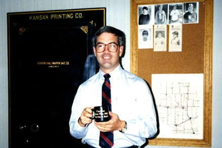Anstaett poses at the Newton Kansan when he was editor and publisher in 1991.